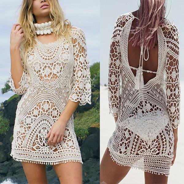 Discount Fashion Women Bathing Suit Lace Crochet Bikini Cover Up