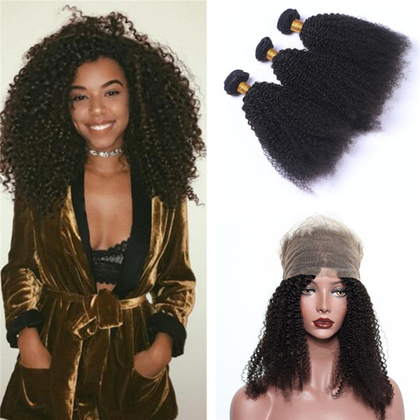 Afro Kinky 360 Lace Frontal With Bundles 3Pcs With Pre Plucked 360 Lace Frontal Closure Bleached Knots Afro Kinky Curly Human Hair Extension