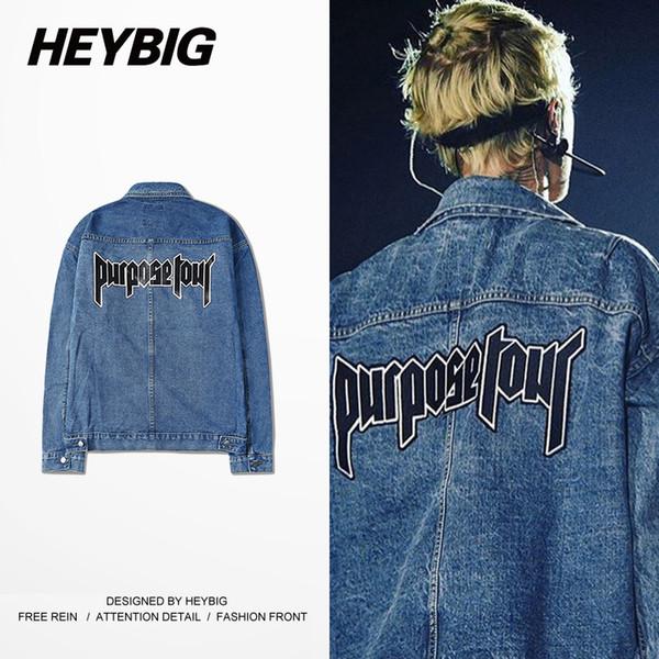 All'ingrosso-2016 Autunno nuovi uomini Denim Jacket tour tour tuta sportiva dei jeans HEYBIG hip hop Streetwear BBoy Giacche abbigliamento CN SIZE