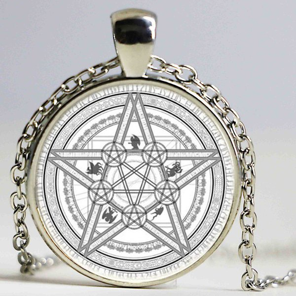 Handmade Magic Circle Space Moon Star Ouija Wicca Gypsy Pentagram Witch Anime Steampunk Statement Necklace Best Xmas Gift