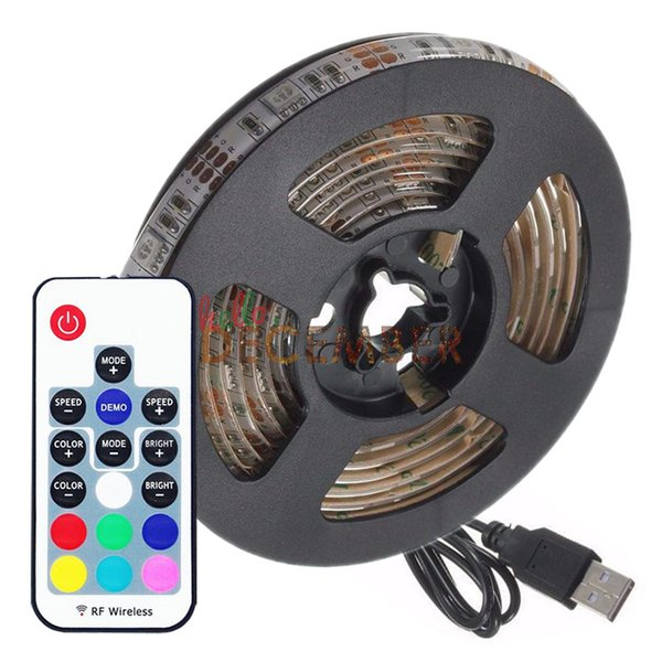5V 5M 150 LED 30LEDs / M SMD5050 USB LED Tira Regulable RGB Multicolor LED cambiante Luces de luz de neón de luz de señal