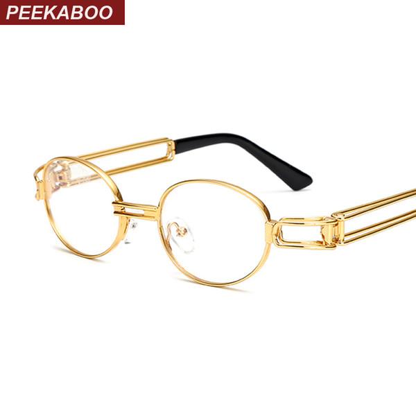 Atacado-Peekaboo retro lente clara nerd armações de óculos para homens oval masculino pequena rodada óculos para mulheres ouro metal oco 2017