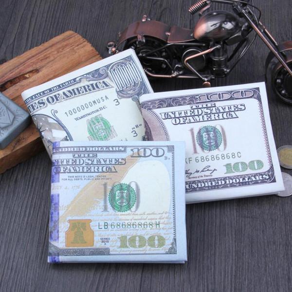 Neue Ankünfte Trendy Alten und Neuen Dollar-Muster Quer Kurze Stil PU Leder Geldbörsen Kreditkarte Mode Notecase für Männer und Frauen