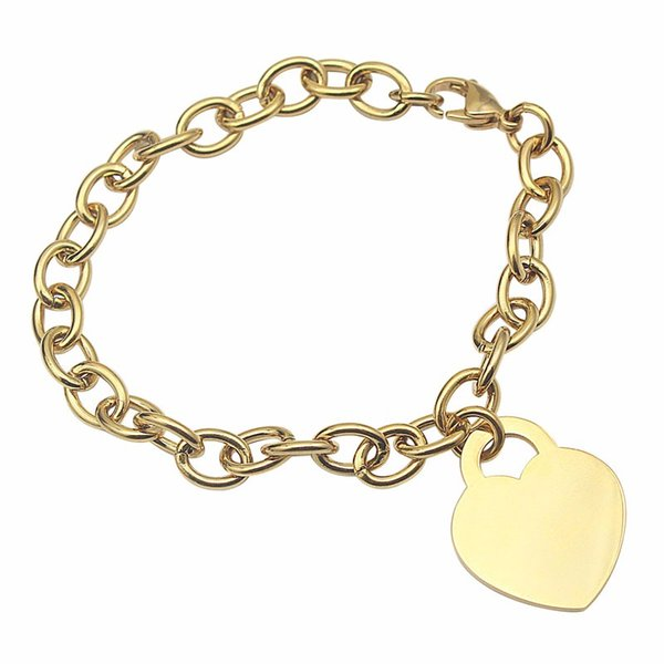 Fashion heart pendant women gold color hand accessories for love bracelet stainless steel BFF name bracelet bangle