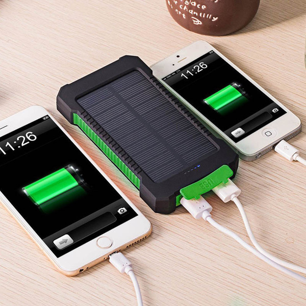 Abenteuerreise Wasserdichte Solar Power Bank 10000mAh Dual USB Li-Polymer-Akku Solar-Ladegerät Powerbank LED-Licht für iPhone