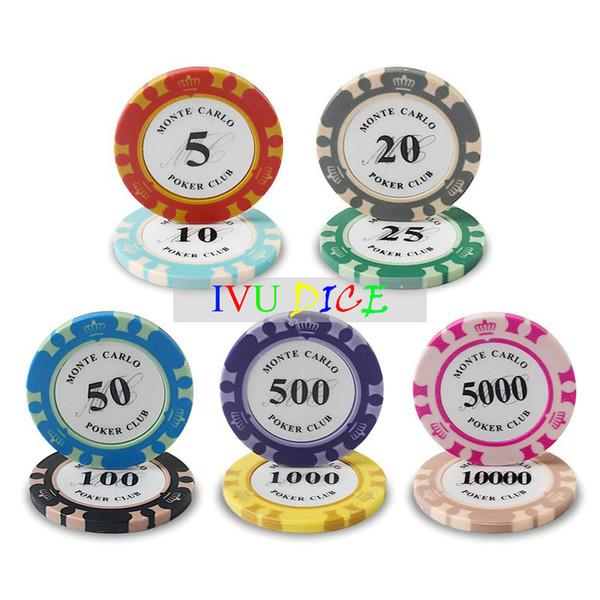 10pcs Jetons de poker de Texas Hold'em d'argile de couronne de haute qualité Jetons de casino d'ABS de fer d'argile de classique 14g IVU