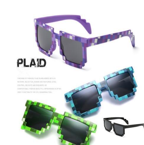 Novelty Vintage Mosaic Sunglasses for Kids Square Unisex Pixel Sunglasses Trendy Mosaicic Glasses Kids Party Prop CCA7181 100pcs