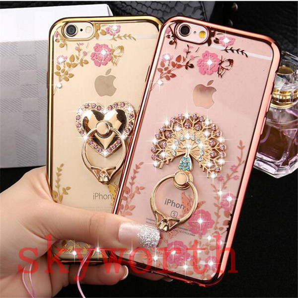 Bling Diamond Ring Holder Case Crystal TPU for Iphone 8 X XR XS Max 7 Samsung Galaxy S8 S9 Plus Note 8 Kickstand