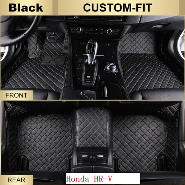 SCOT All Weather Leather Car Floor Mats for Honda HRV Waterproof Anti-slip 3D Front & Rear Carpets Custom Fits-Black Right-Hand-Driver-Model