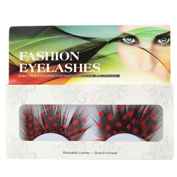 Fashion 1 Pairs 6 Style Halloween Makeup Feather Fake Eyelashes Black Feather Red Point False Eyelash Party Tools