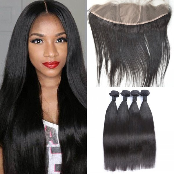 G-EASY Virgin Peruvian Straight Silk Base Frontal With Bundles 5pcs lot Straight Human Hair Wefts With Closure