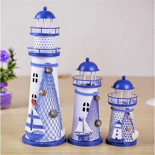 14.5-28.5CM Mediterranean Style Creative Metal Lighthouse Model 1PC Handmade Beacon Nautical Home Decoration Wedding Gift Crafts