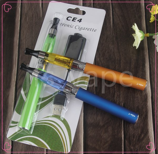 Vape ego t ce4 single starter blister pack vaporizer pen kits electronic cigarette clearomizer 510 evod 650 900 1100 mah thread vapes