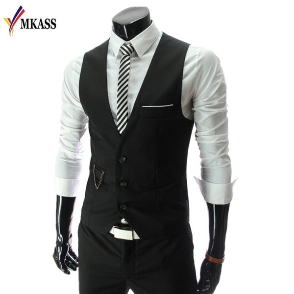 Wholesale- Fashion 2017 New Arrival Men Suit Vests Men's Fitted Leisure Waistcoat Casual Business vests Tops Three Buttons 4 color M-4XL
