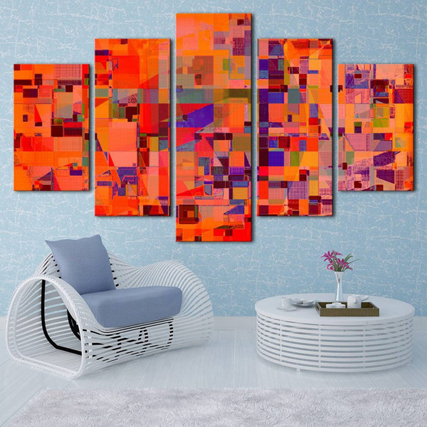 (No frame) Abstract art, series THREE HD Canvas print 5 Panel Wall Art Oil Painting Textured Abstract Pictures Decor Living Room Decoration