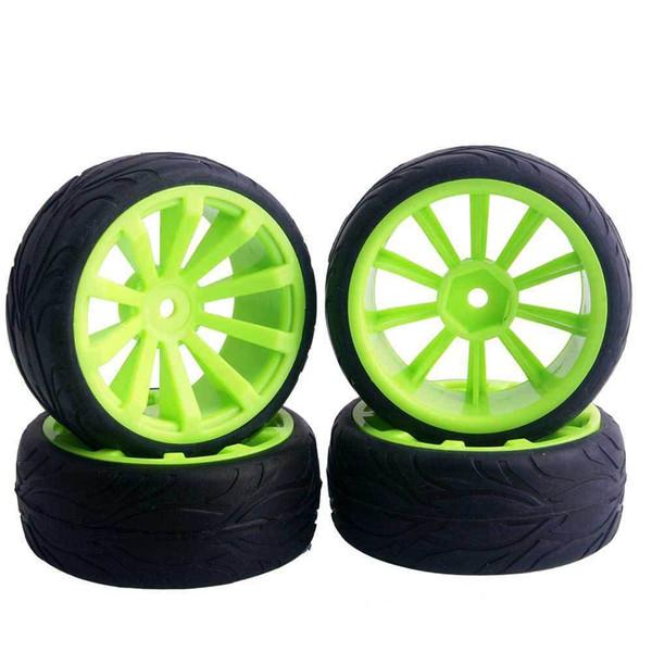 4pcs RC Flat Racing Tires Tyre Wheel Rim Fit HSP HPI 1:10 On-Road Car 603-6084