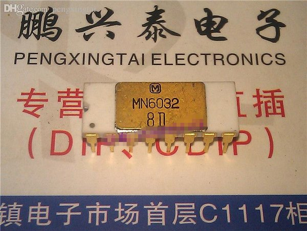 MN6032 / Gold white ceramic package . dual in-line 16 pin dip , Vintage chips Collectible , Old chip Collection /IC