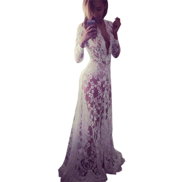 Wholesale- Summer Sexy Women Lace Evening Party Dresses Gown Formal Long Maxi Dress WJ