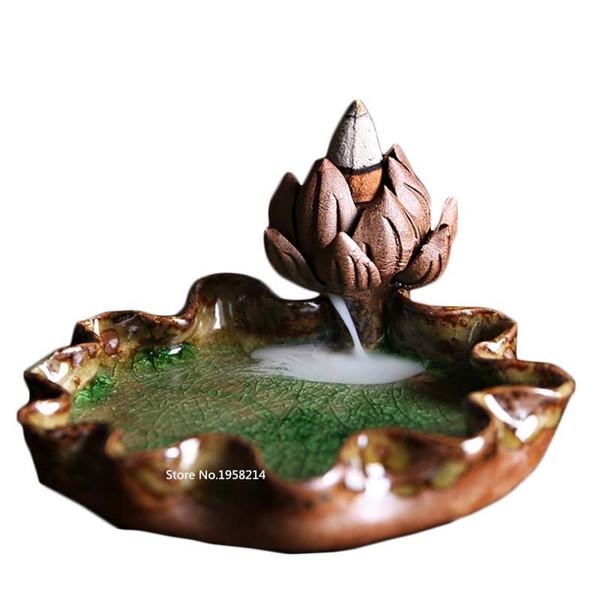 Gros-vente chaude en porcelaine à la main en céramique brûleur d'encens titulaire avec 10 retour encens bouddhiste décoration maison aromathérapie