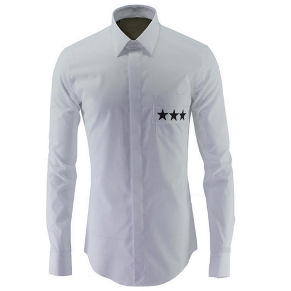 Wholesale- Luxury Shirt Men 2016 New Star Print Shirts Men Casual Slim Fit Long Sleeve Mens Dress Shirts Brand Clothing Chemise Homme XXXL
