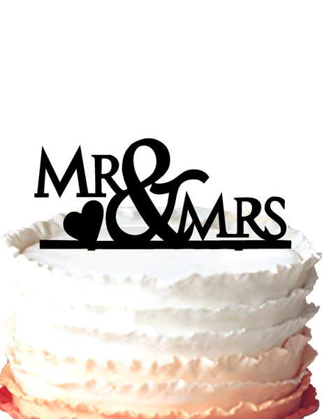 Mr & Mrs Design Wedding Cake Topper Anniversary Cupcake Stand with heart ,37 color for option Free Shipping