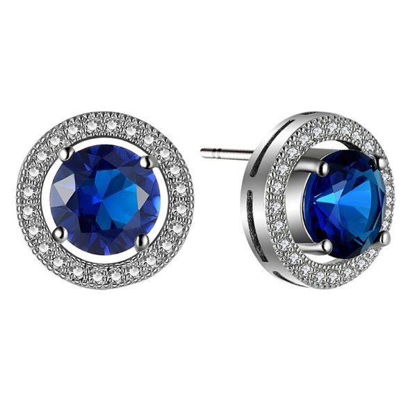 White Gold Color Clear Crystal Cluster Big Blue/Pink Cubic Zirconia CZ Round Stud Earrings for Women Girls Christmas Gift