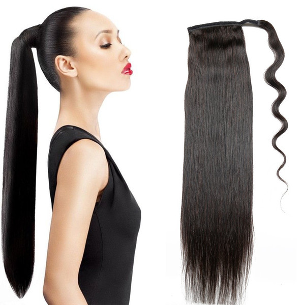 Dora 18 Silk Straight Ponytail Hair Extension Human Hair Wrap Ponytail Hairpiece 100g Natural Color 1 Hairstyles For Ponytail Drawstring Ponytail
