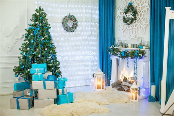 indoor fireplace horizontal christmas backdrops blue curtain gifts boxes decorated tree sparkling lights white wall printed photo background
