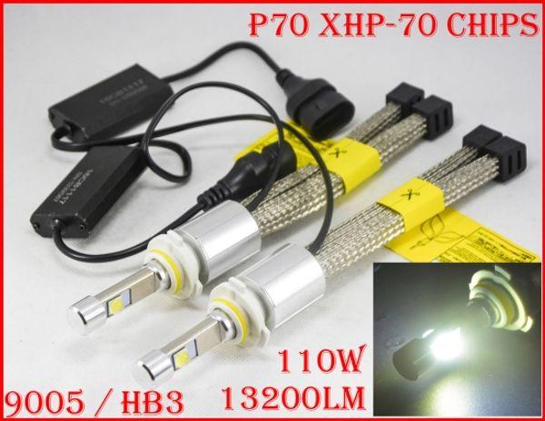 1 Set P70 110W 13200LM 9005 HB3 / 9006 HB4 Cre LED Headlight Kit XHP70 Chip Fanless SUPER White 6000K Driving Fog Headlamp H4 H8 H11 Rep HID
