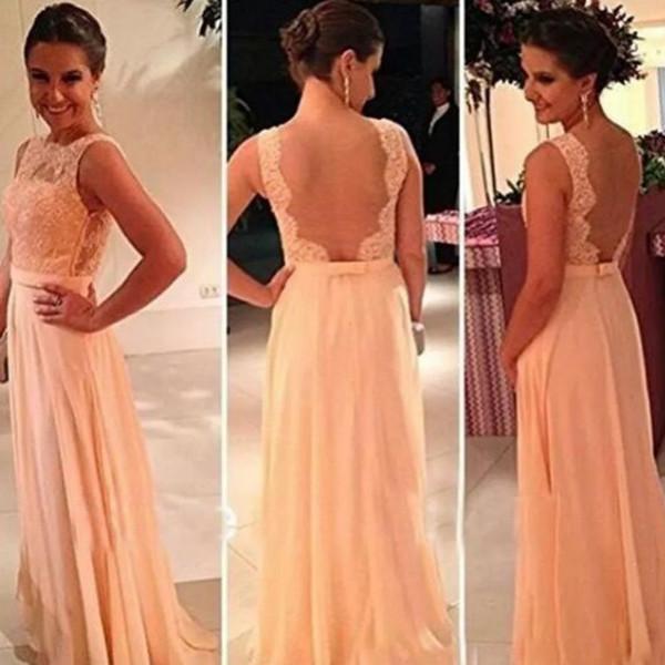 O Envio gratuito de Alta qualidade Nua de Volta Lace Chiffon Longo Cor De Pêssego Barato Dama de Honra Vestidos para Venda de Casamento Vestidos de Dama de Honra