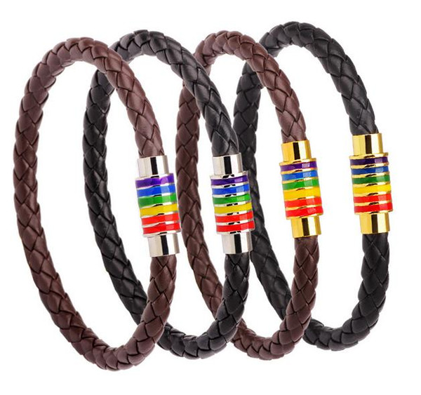 Rainbow Colorful Bracelet European And American Leather Braided Titanium Steel Magnetic Buckle Hand Chain