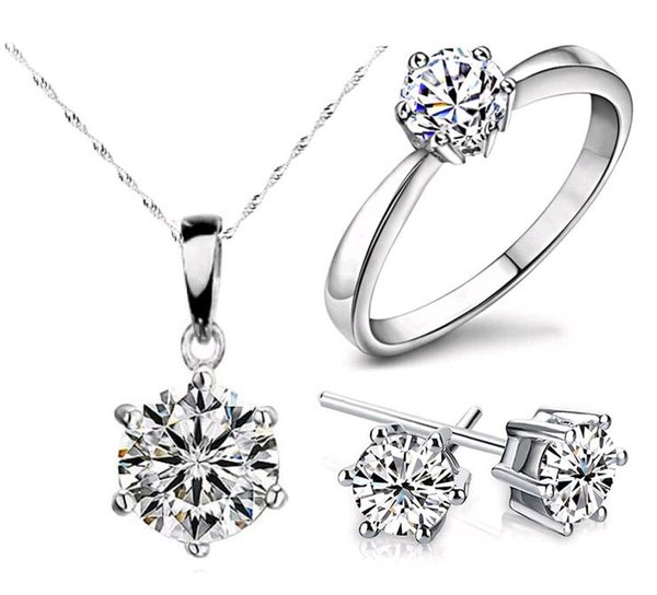best selling New Arrival for New year Zircon Crystal Necklace Earrings Rings Bridal Jewelry sets Hearts and arrows jewelry Sets Free shipping