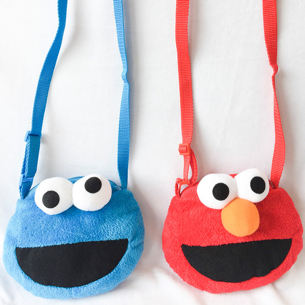 2019 18cm Sesame Street Elmo Cookie Monster Plush Toys Stuffed Animals Inclined Shoulder Bag Coin Purse For Children Birthday Gifts From Zhongdecraft