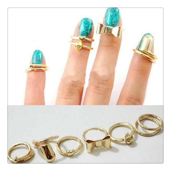 2017 Women Fashion Rings Set Vogue Gold Skull Bowknot Heart Design Simple Nail Band Mid Finger Rings Set Nail Band Rings Free Shipping