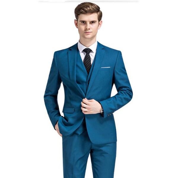 Men Wedding Suits White Groom Tuxedos For Men Slim Fit Men Dress Suits Royal Blue Burgundy custom made 3 Piece Prom Suits