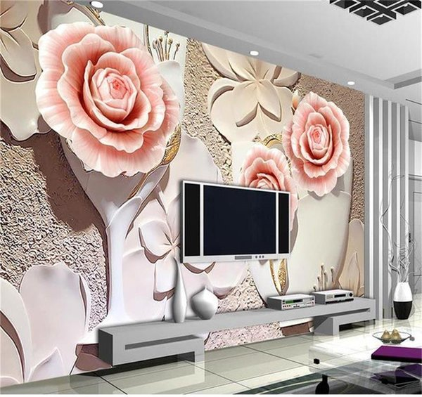 Wholesale- Custom 3d photo wallpaper room mural non-woven sticker flower relievo fresco HD photo sofa TV background wallpaper for walls 3d