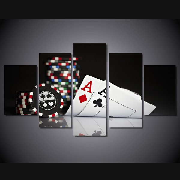 5 Pcs/Set Framed HD Printed poker Painting Canvas Print room decor print poster picture canvas Free shipping/ny-2881