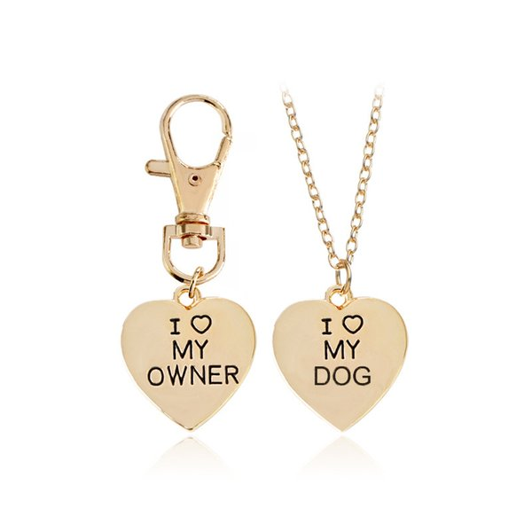 Fashion 2 Pcs Best Friends Friendship Love Heart Necklace Key Chain Owner and Dog Letter Pendant I LOVE MY DOG Necklace Jewelry Key Rings