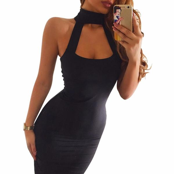 Wholesale- 2017 Summer Party Women Dress Low Cut Sexy Night Club Dresses  Off Shoulder Mini Bodycon Dress Black Bandage Dress Girls Vestidos 66c70ede2