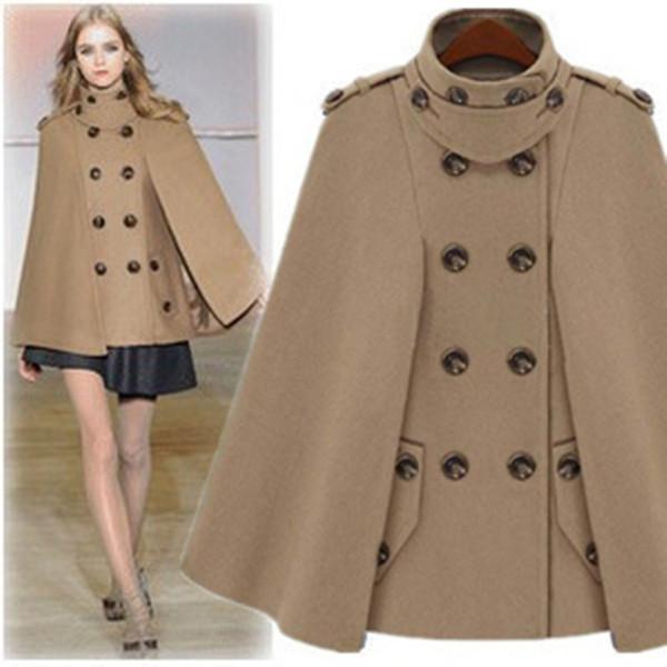 De lujo del mantón del cabo del poncho de Pashmina Ponchos Escudo Escudo Escudo de la Mujer Outwear Europa de la manera de lana otoño Invierno