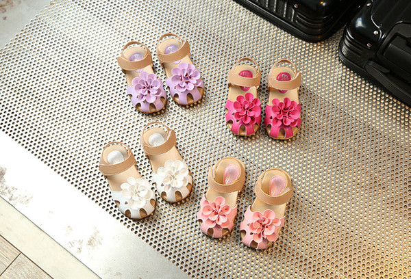 Girls Princess Shoes Cool PU Leather Summer 2017 Baby Girls Sandals Shoes Kids Skidproof Toddlers Children Beach Flower Shoes