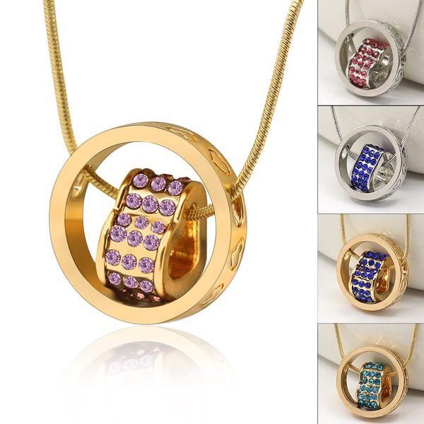 18K Gold Loving Heart Necklace 3D Elegant Austrian Crystal Rhinestone Eternal Love Silver Necklaces Love Engraved Chain