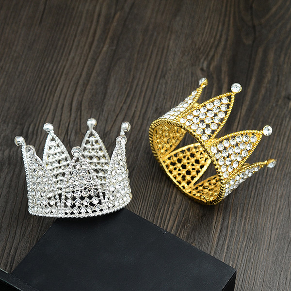 Free shipping Silver &Gold Plated Birthday Cake Topper Smaller Crown Hair Tiaras For Gift TZ034