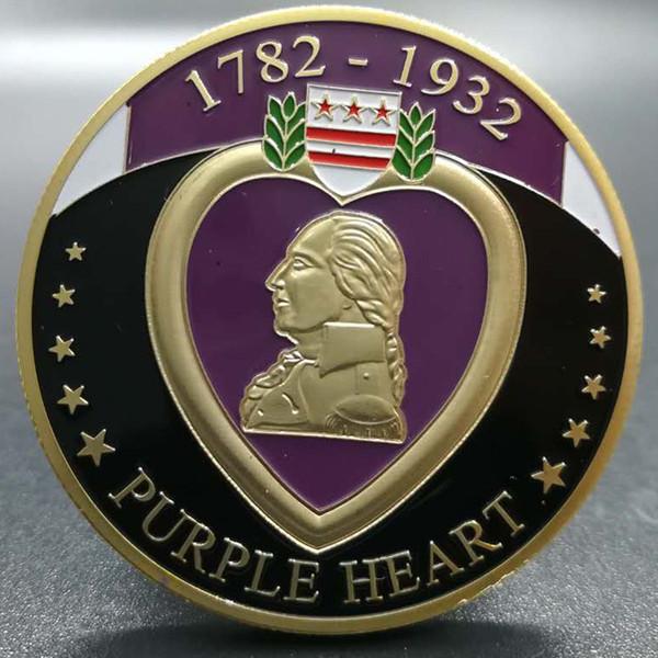 10 pièces Le badge coeur pourpre 1782 - 1932 mérite militaire valeur plaqué or 40 mm souvenir décoration de la maison pièce de collection