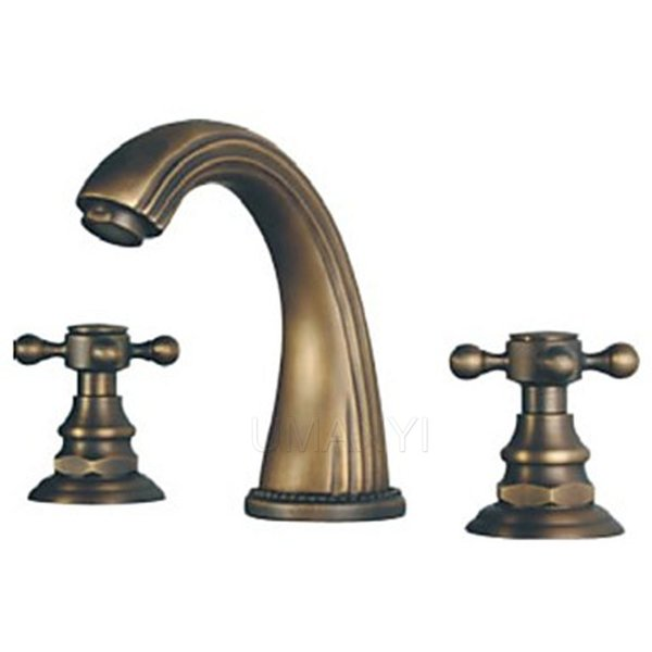 Wholesale Retail Bathroom Basin Faucets Antique Brass Brushed Bronze 2 Handle Deck Mounted Hot Cold Mixer Toilet Sink Taps ABMPL006-2