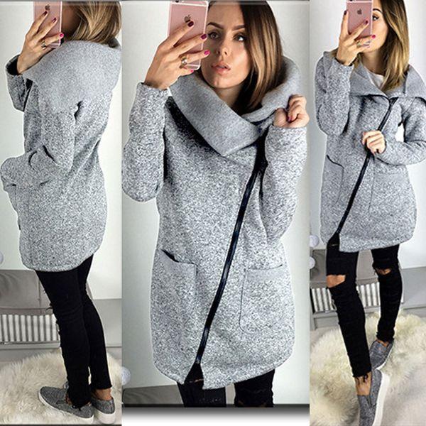 Womens Chaud Casual Hoodie Veste Manteau Long Zip Up Sweat Dames Mince Mince Automne Oblique Zipper Outwear Survêtement Tops