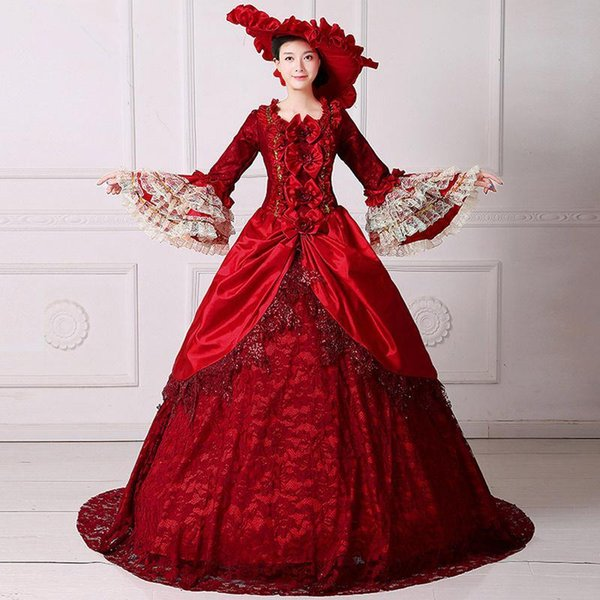 Renaissance Elizabeth Reenactment Dress 2017 18th Century Medieval Marie  Antoinette Dress With Train Theatre Costume Stage Wear Women Dress Medieval