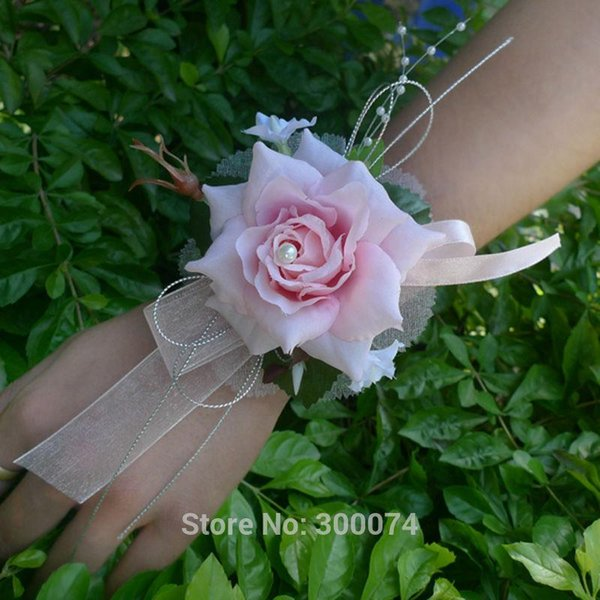 Artificial Silk Rose Decorative Flowers for Decoration Wedding or Prom Wrist Flower Corsage with Pearl Bracelet Boda New