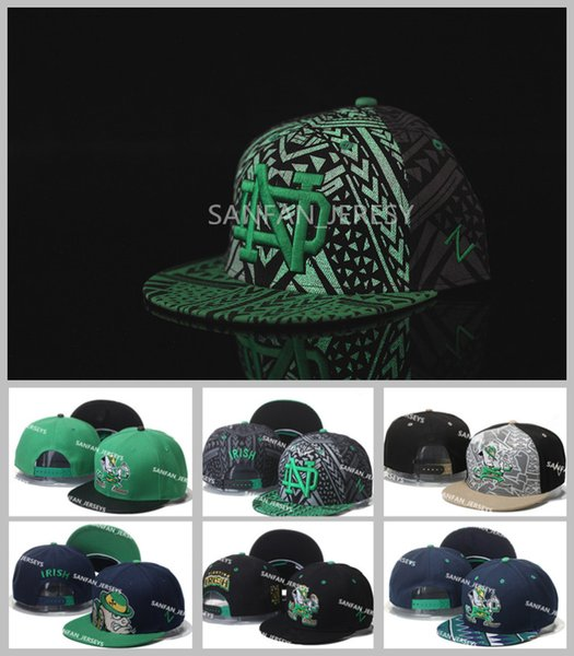 7c20055e5 Wholesale All Teams NCAA Notre Dame Snapbacks Hats Black Green Fighting  Irish Cap American College Mens ND Adjustable Hats Embroidered Logos Flat  Brim ...