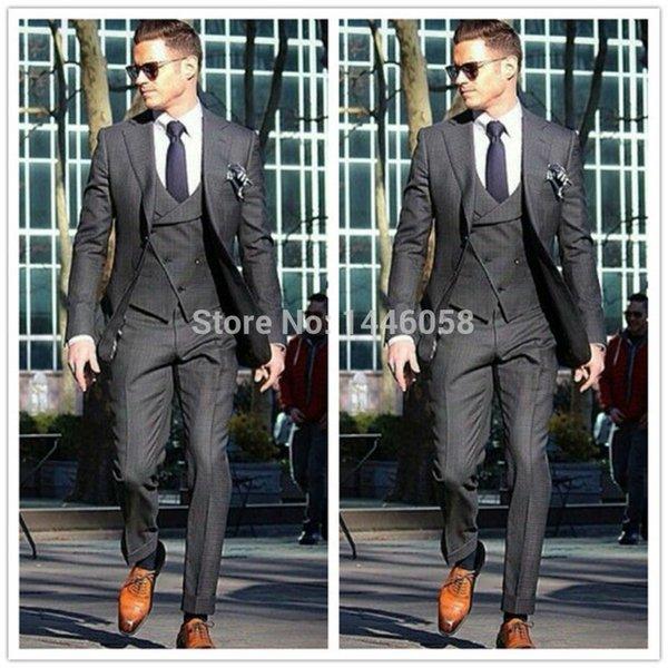 2017 Italian Custom Made Gentleman Charcoal Wedding Prom Men Suits Morning Tuxedos Groom Business Suit Jacket+Pants+Vest+Tie A001